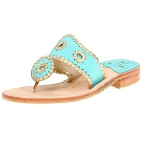 Jack Roger's gold Turquoise whipstitch sandals 9